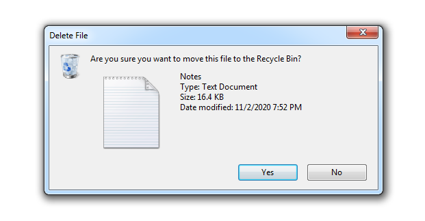Moving file to recycle bin Windows 7