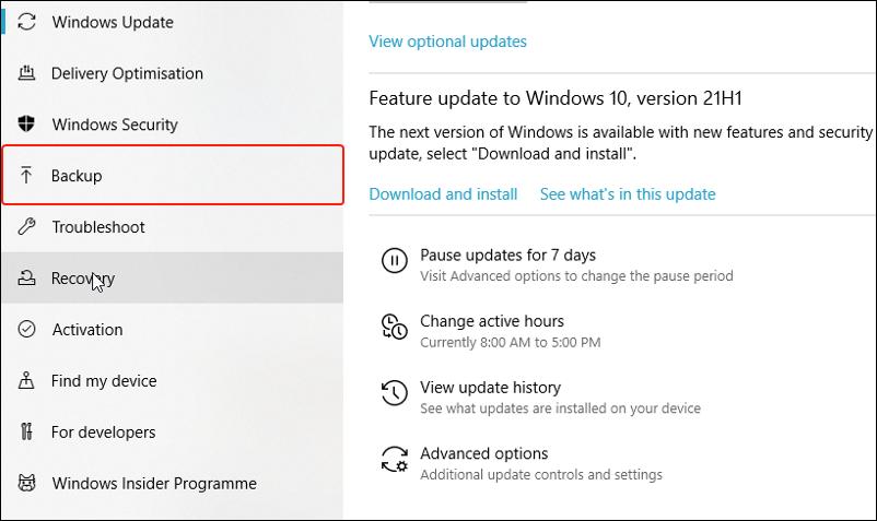 backup settings on Windows 10
