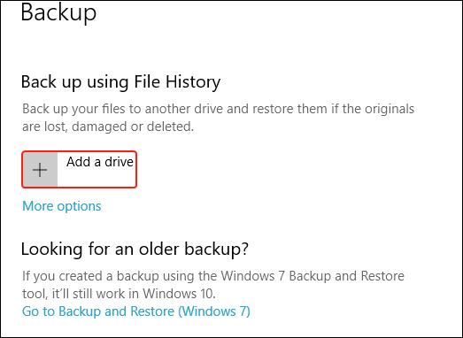 Choose backup drive for file history