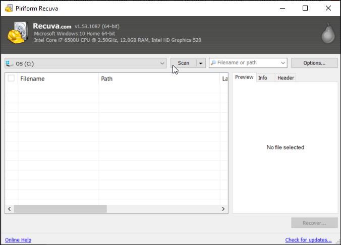 Recuva files recovery