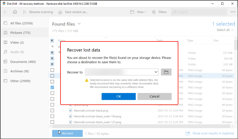 select location for recovered files